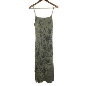 Olive Green Paisley Spaghetti Strap Midi Dress
